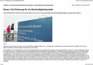 Bozen_ EU-Förderung für Uni-Nachhaltigkeitsprojekt